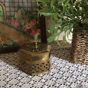 Solid Brass Container W/Unique 6-sided Design